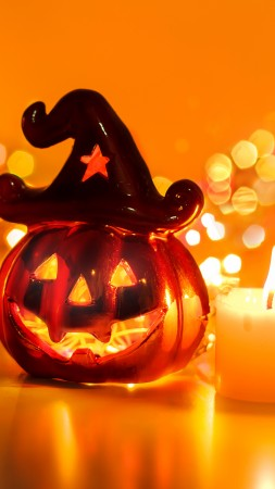 Halloween, All Hallows' Eve, All Saints' Eve, pumpkin, fear, cap, yellow, lights, decoration, bokeh (vertical)