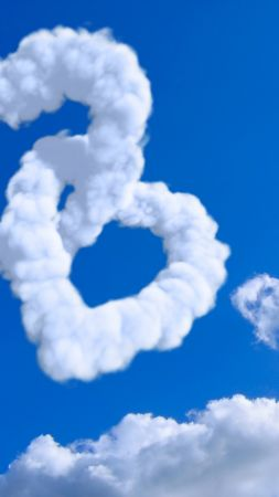 heart, 5k, 4k wallpaper, 8k, cloud, blue sky (vertical)