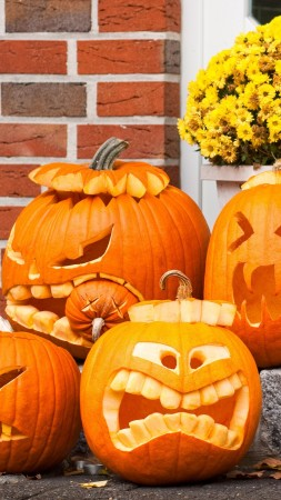 Halloween, All Hallows' Eve, All Saints' Eve, porch, pumpkins, muzzle, decoration (vertical)