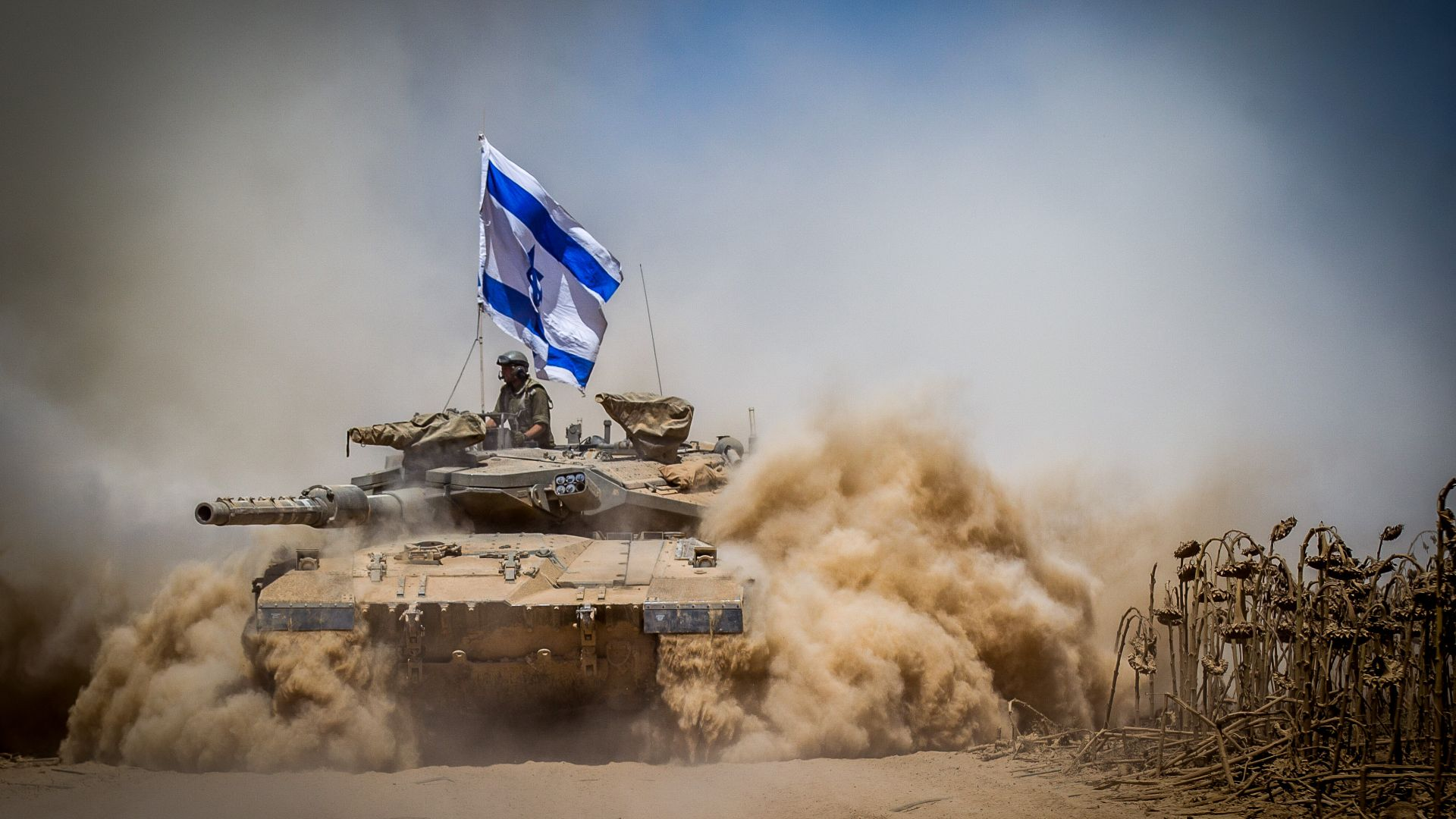 Merkava Mark IV, tank, flag, Israel Army, Israel Defense Forces, desert (horizontal)