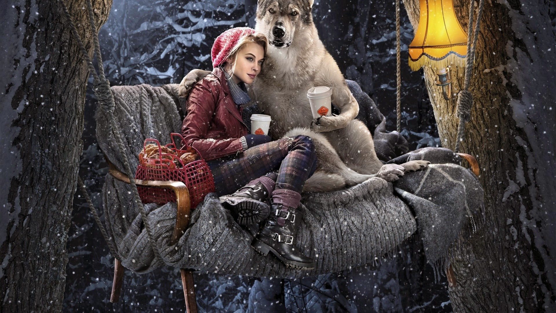 Wallpaper Red Riding Hood Wolf Drink Coffee Forest