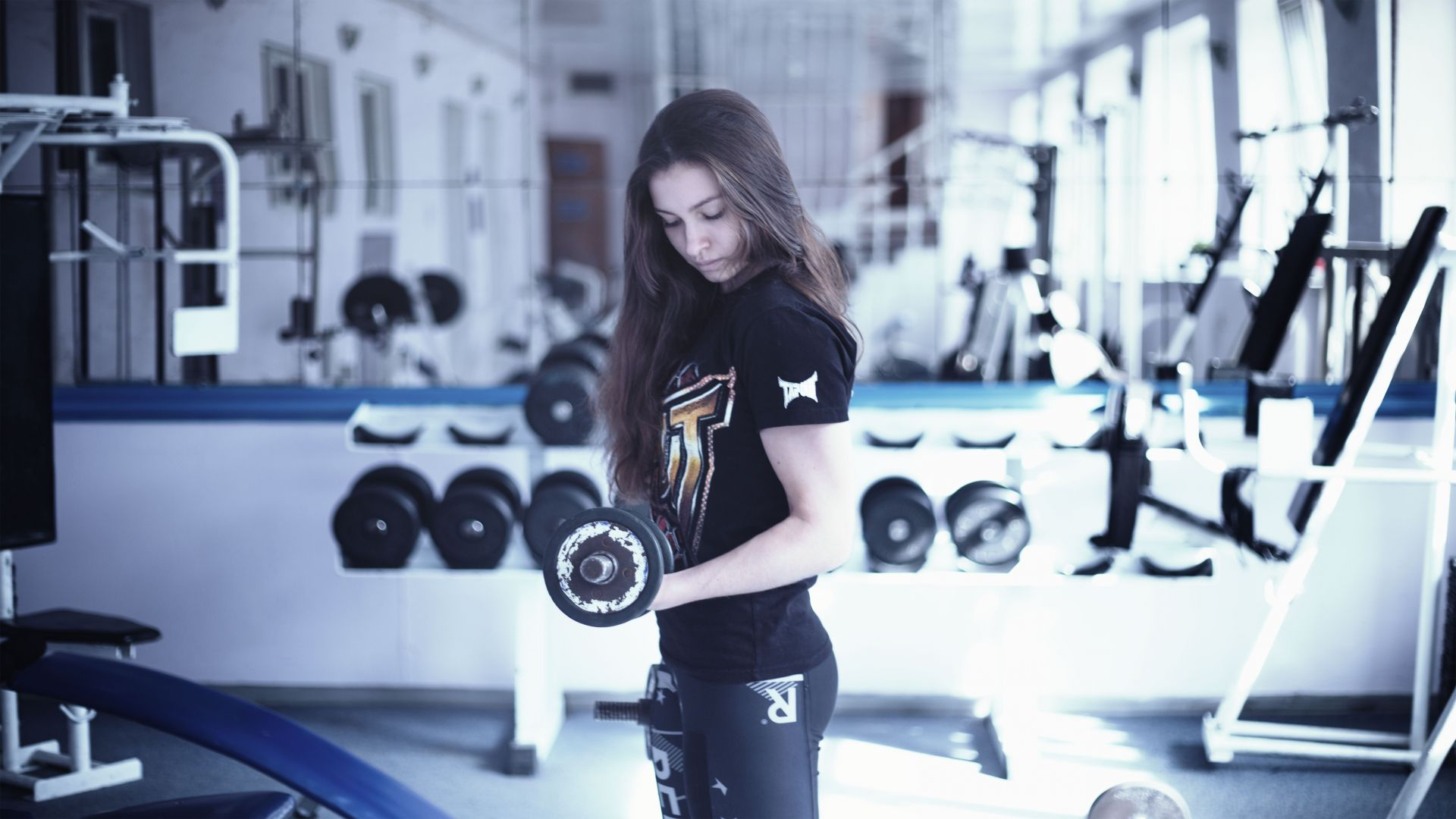 Girl, fitness, exercise, gym, dumbbells, workout, sportswear, motivation (horizontal)