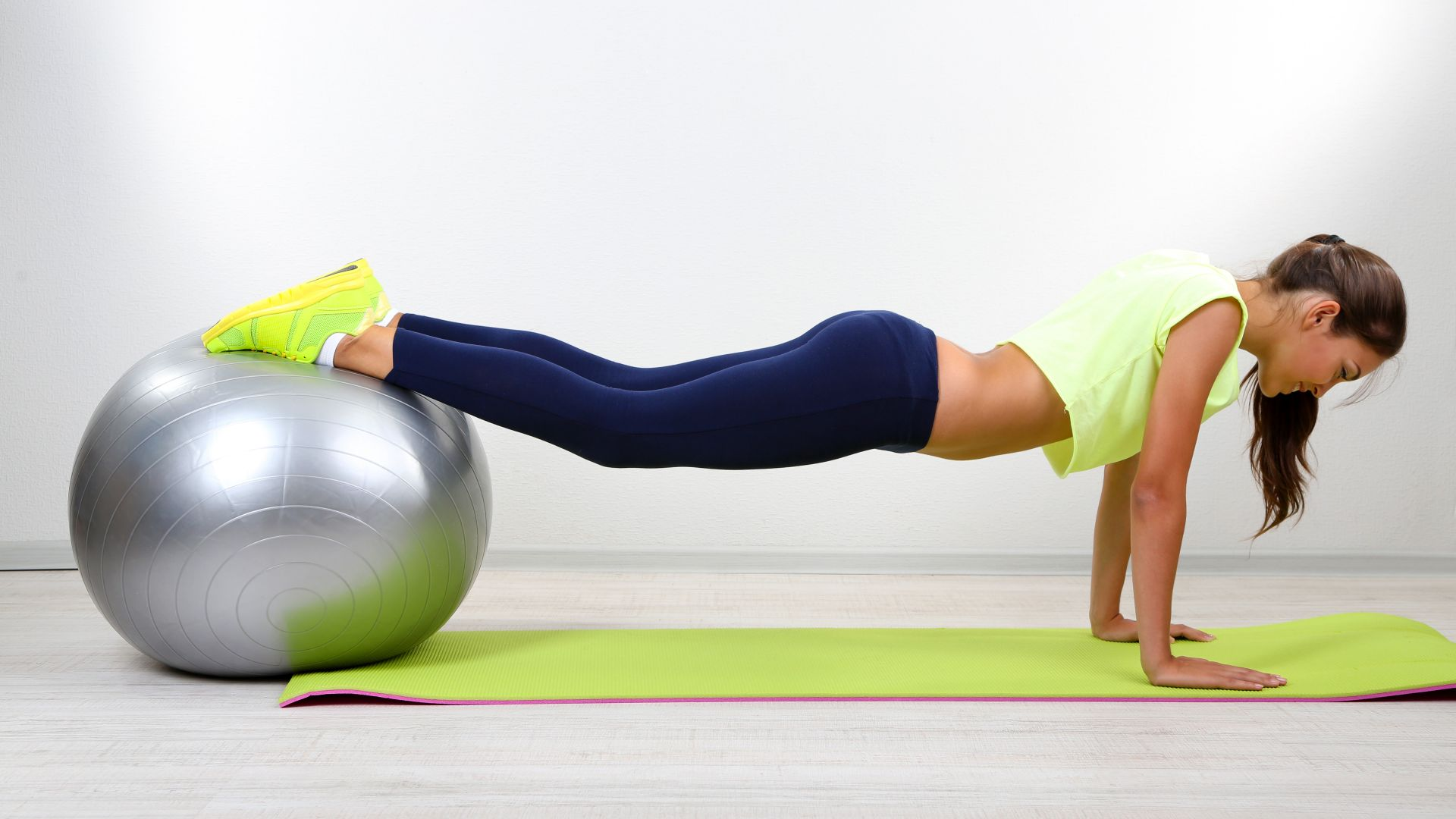 Girl, Training, exercise, weight loss, gym ball (horizontal)