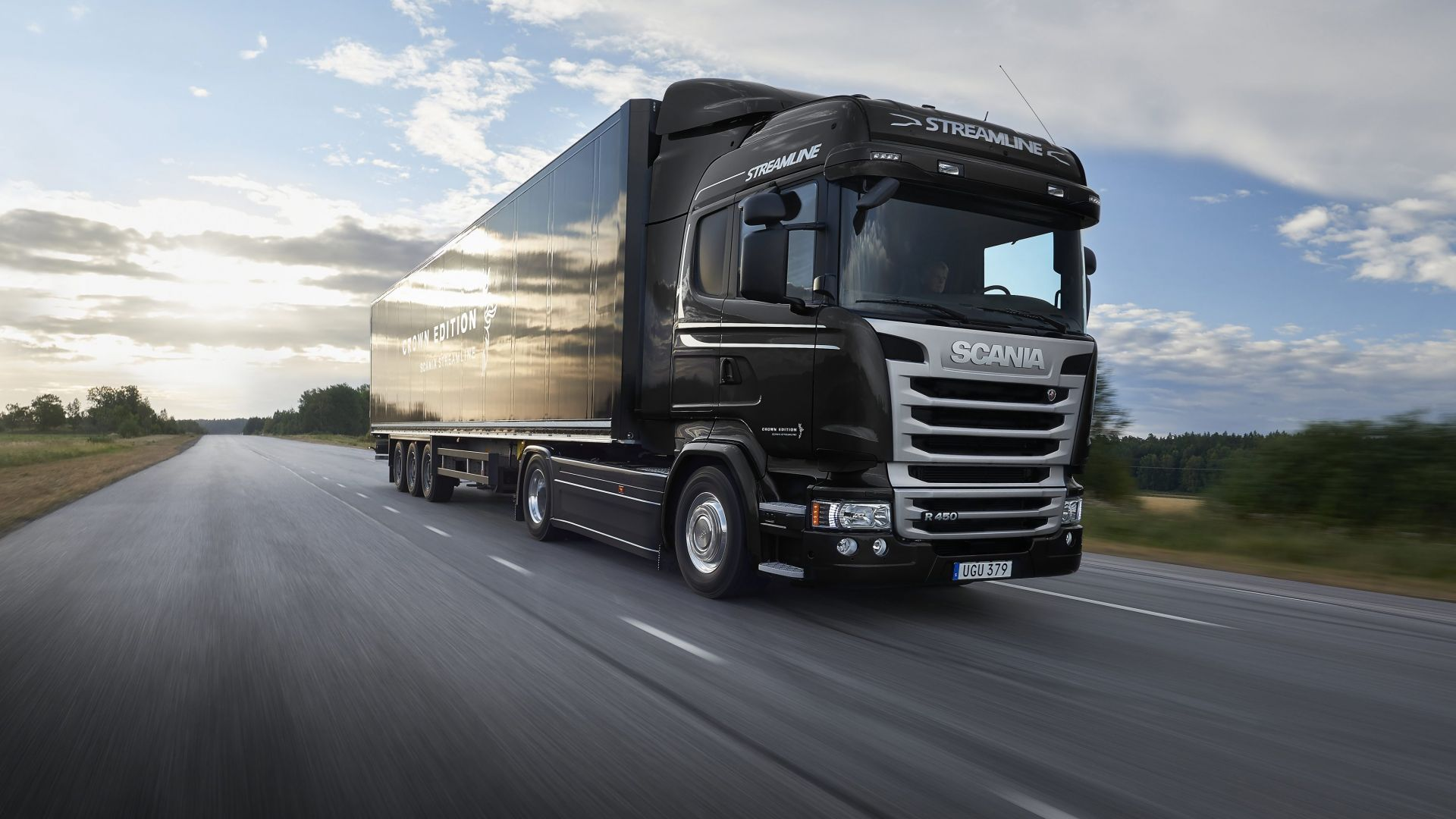 Wallpaper Scania R520, black, track, crown edition, Cars