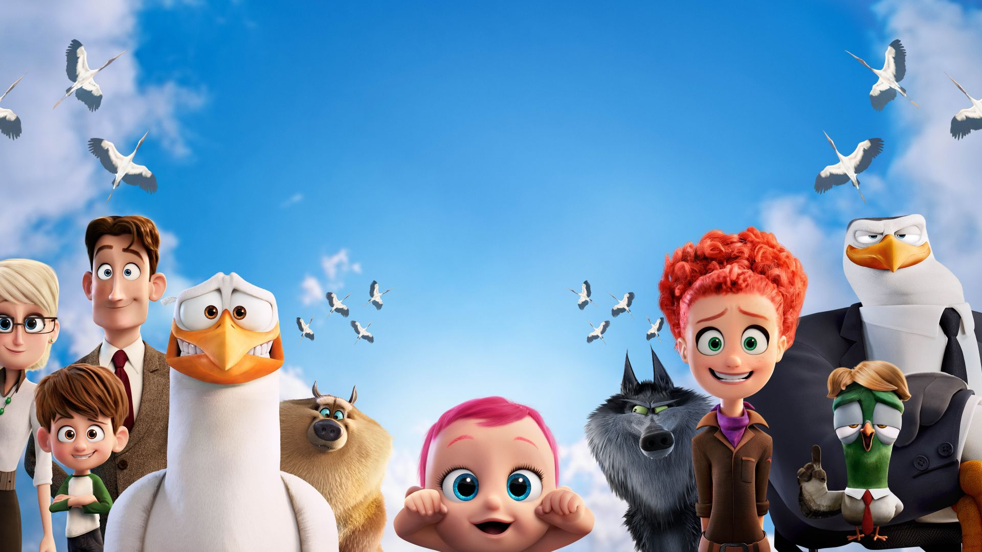 Storks, baby, eagle, wolf, best animation movies of 2016 (horizontal)