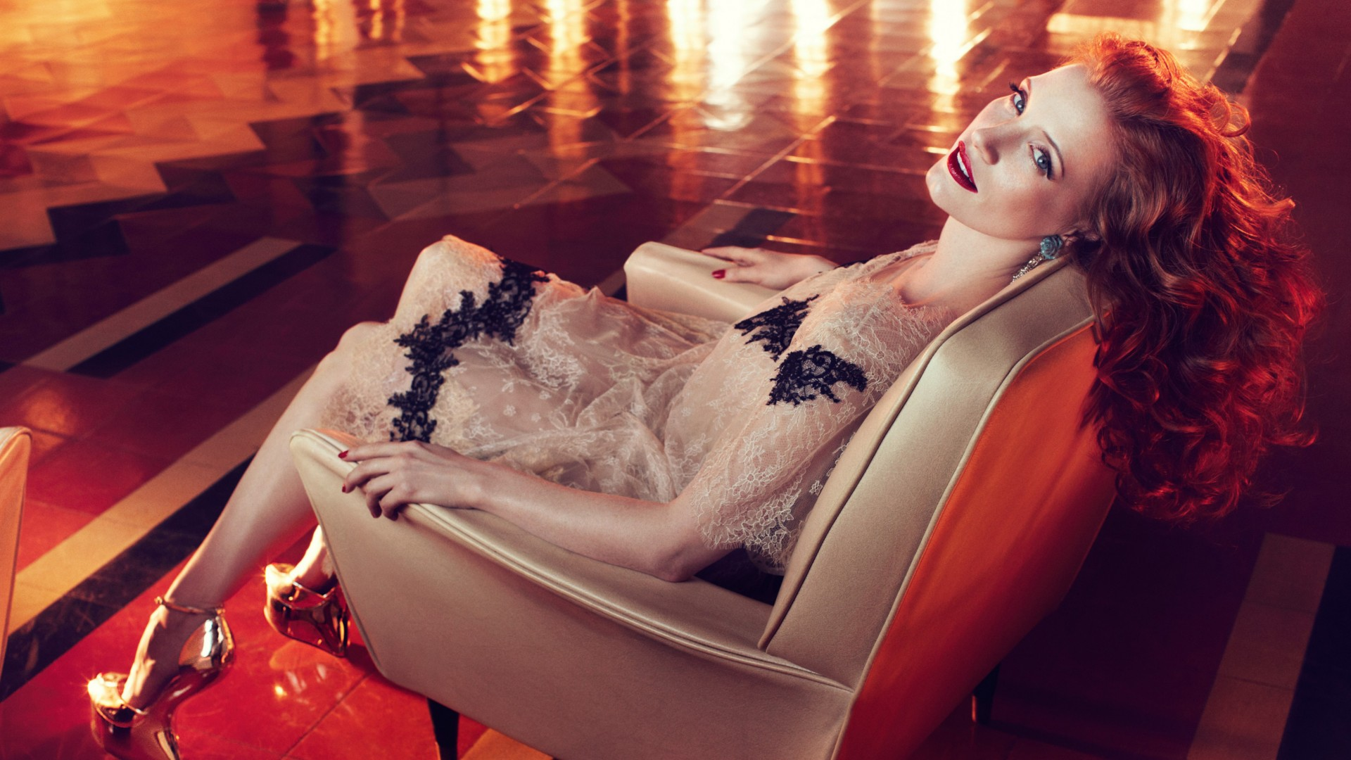 Jessica Chastain, Actress, television star, red hair, beauty, dress, red lips, interior, Vogue Italia (horizontal)