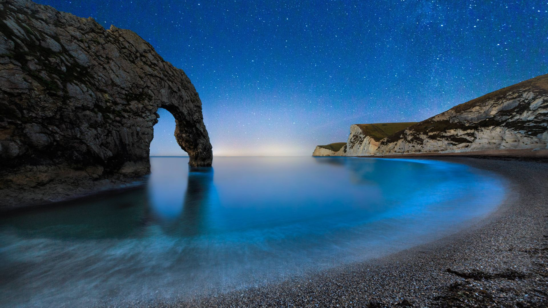 Durdle Door, 5k, 4k wallpaper, beach, night, stars, sea, England (horizontal)