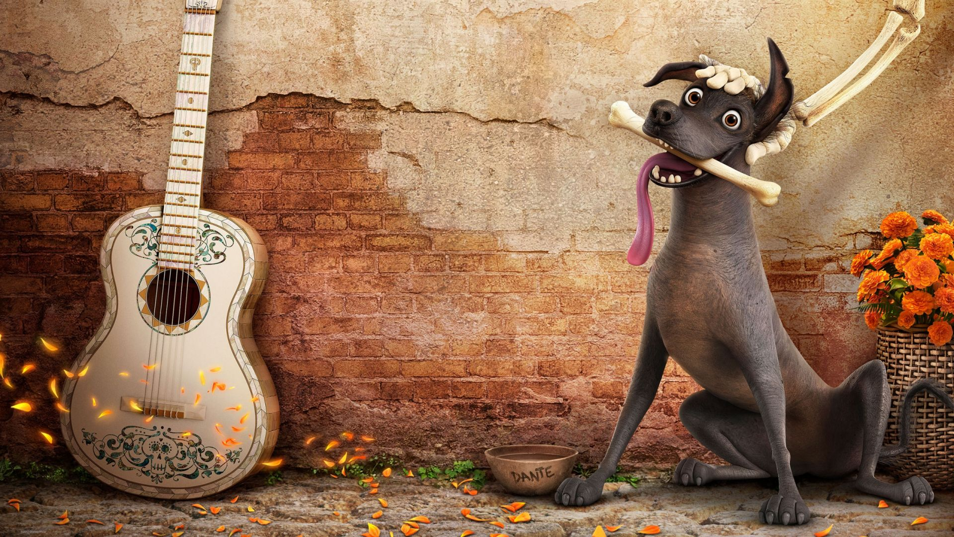 Coco, dog, guitar, best animation movies (horizontal)