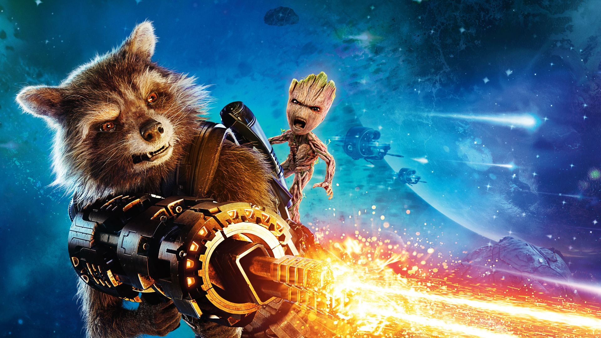 Guardians of the Galaxy Vol. 2, Baby Groot, Rocket, gun, best movies (horizontal)