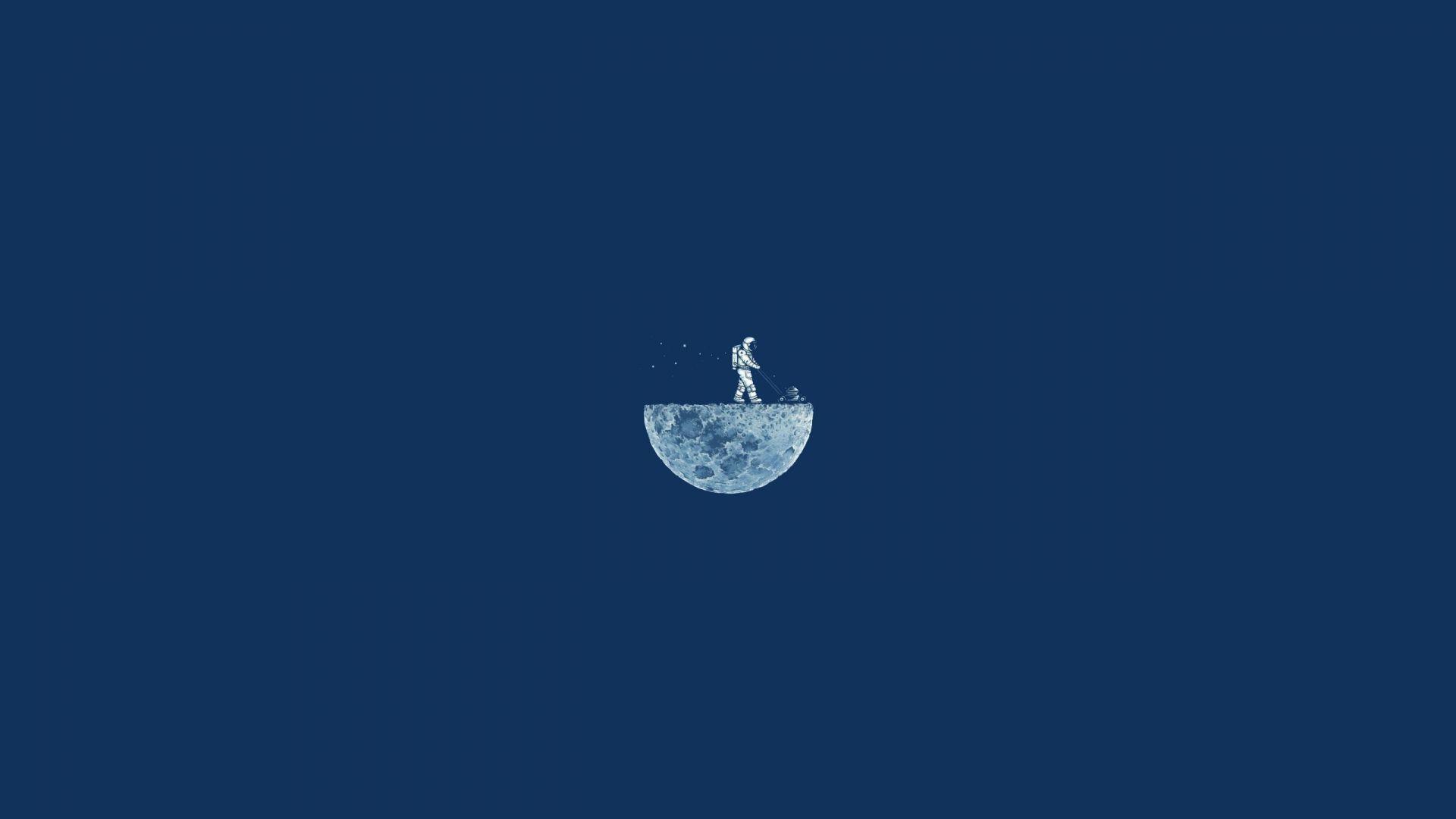 Moon Mow, 4k, HD, moon, minimalism, iphone wallpaper, astronaut, ...