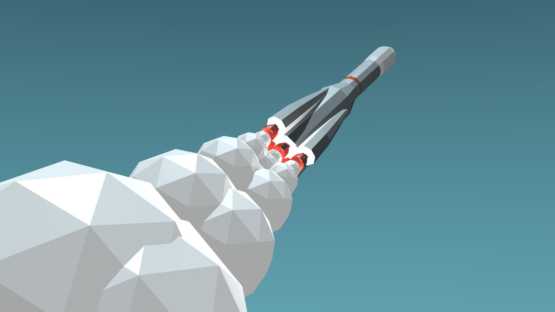 rocket launch, 4k, 5k, iphone wallpaper, low poly, minimalism, blue (horizontal)