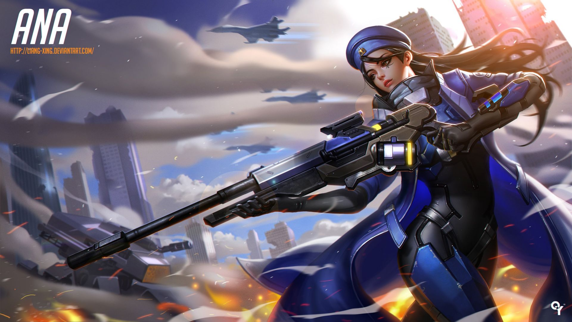 Ana, HD, Overwatch, fan art (horizontal)