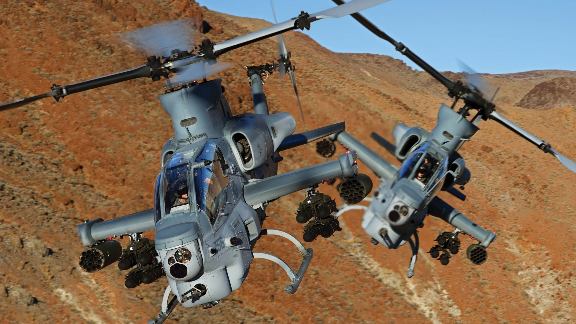 Viper, AH-1Z, Bell, attack helicopter, U. S. Marine, Zulu Cobra, flight, mountain (horizontal)