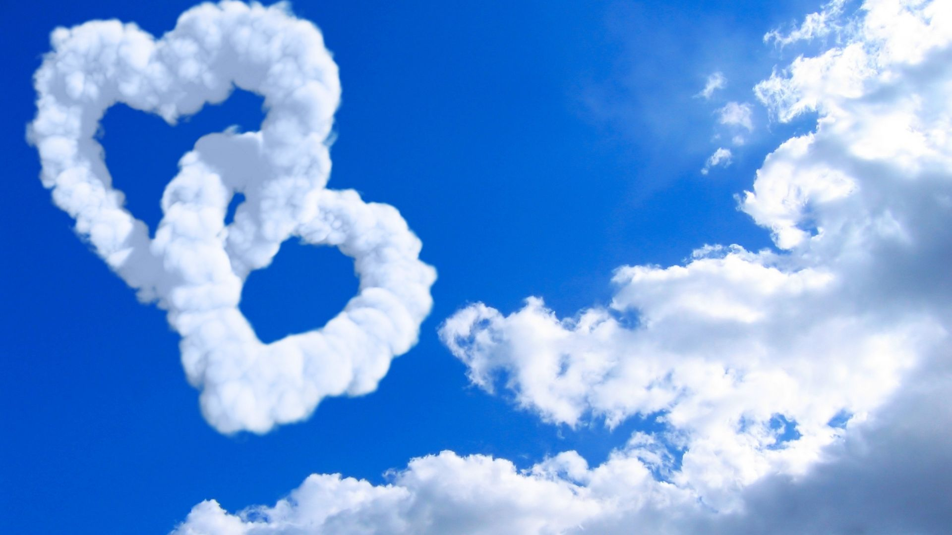 love image, heart, HD, clouds (horizontal)