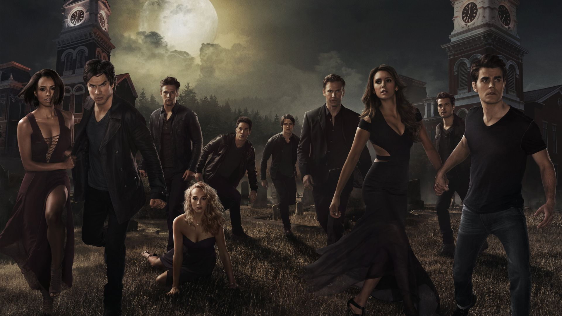The Vampire Diaries, Nina Dobrev, Ian Somerhalder, Paul Wesley, poster, TV Series, 8k (horizontal)