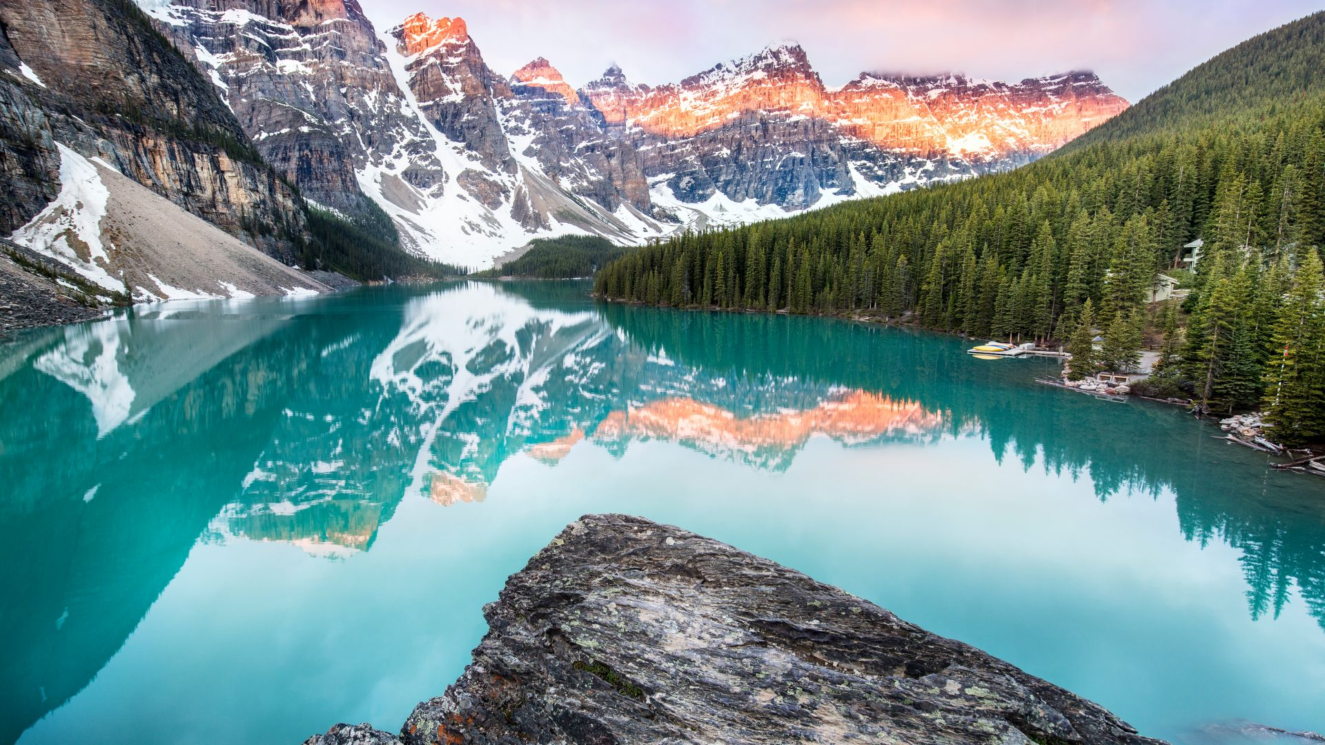 Moraine Lake, Banff, Canada, mountains, forest, 4k (horizontal)