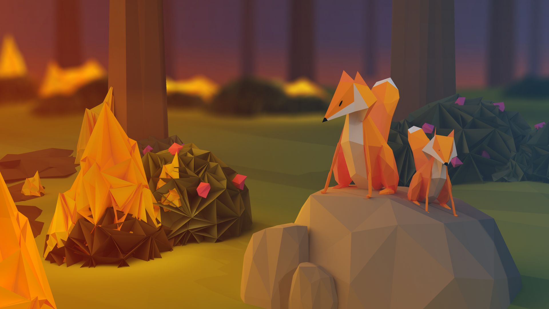 fox, low poly, 3d, forest (horizontal)