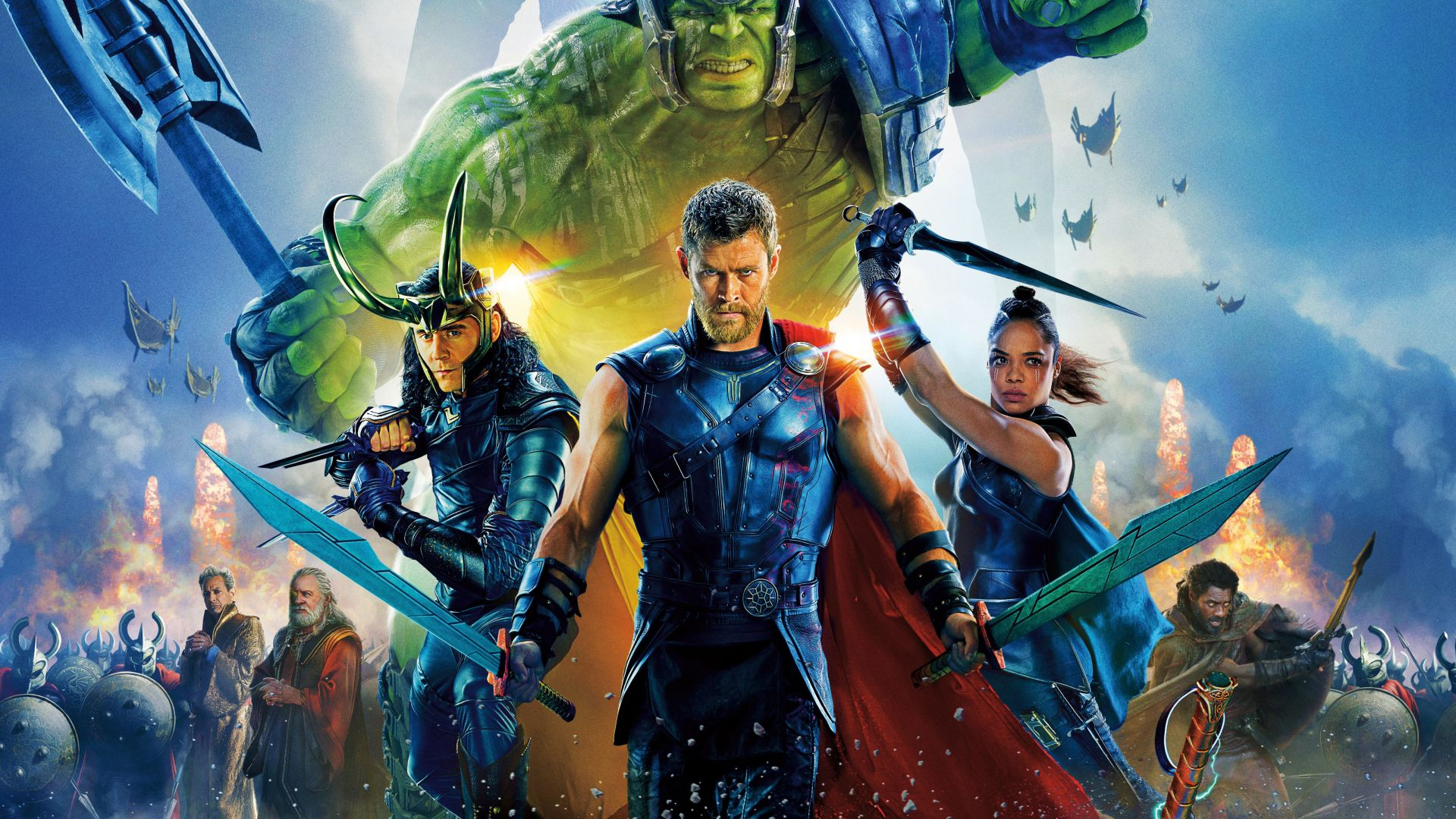 Thor: Ragnarok, Chris Hemsworth, Tom Hiddleston, Tessa Thompson, poster, 5k (horizontal)