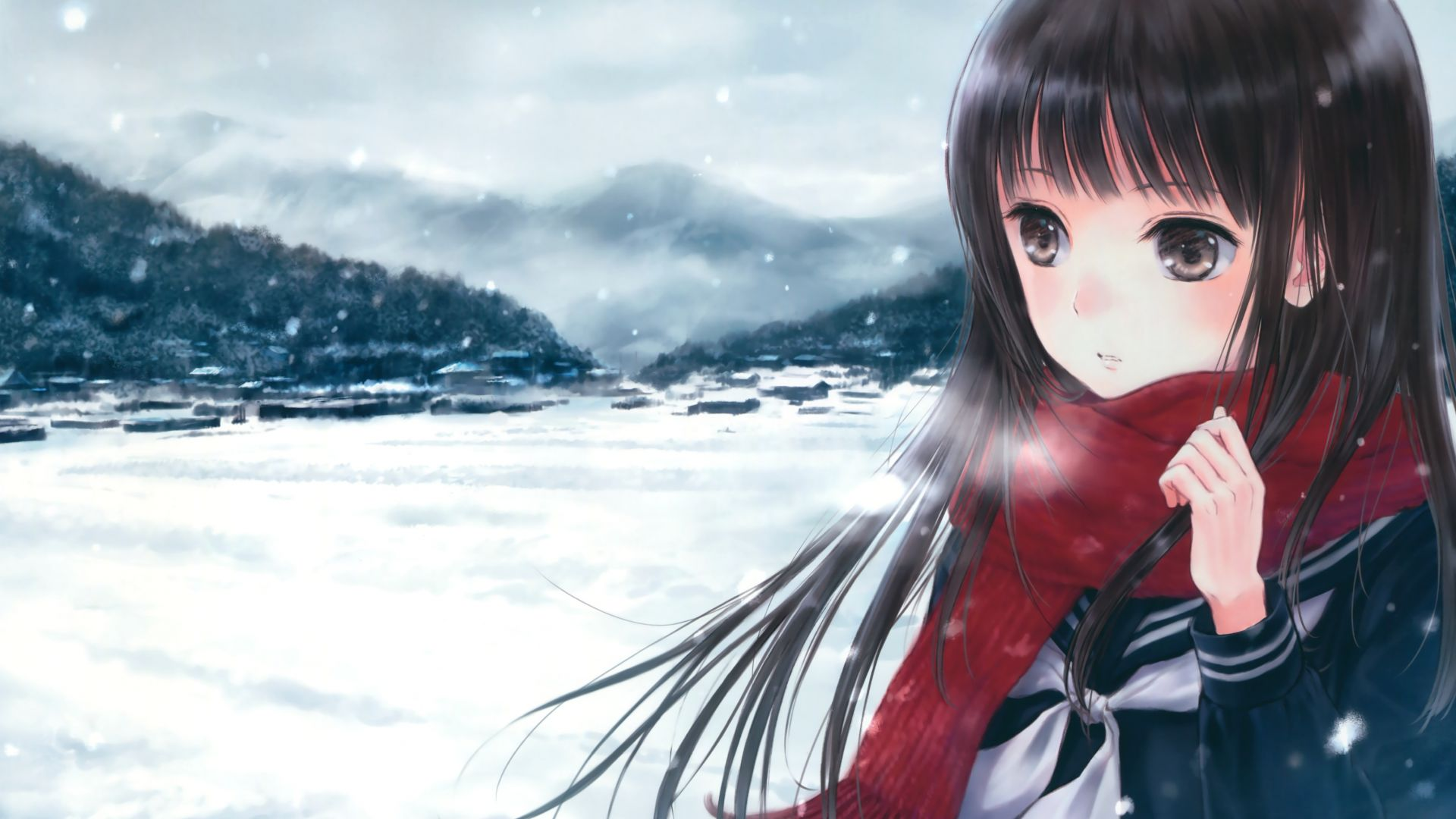 anime, girl, beauty, winter, 4k (horizontal)