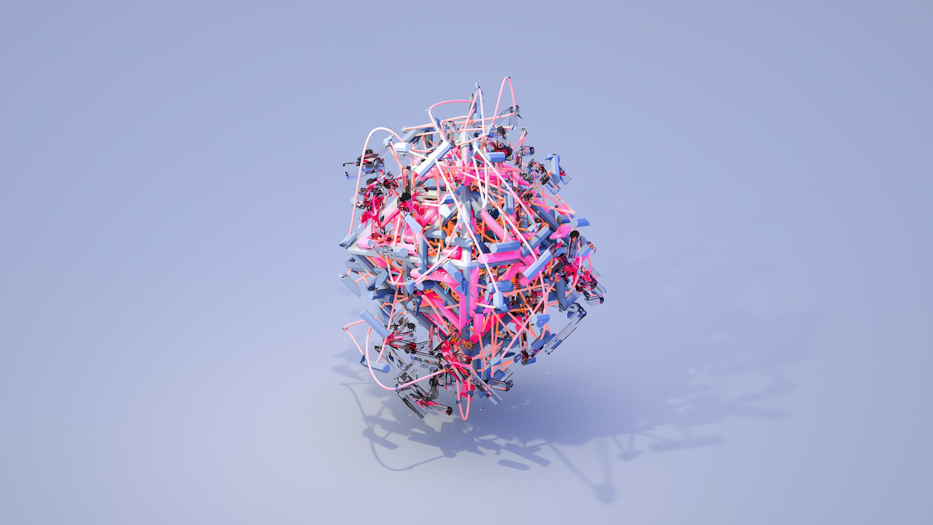 objects, 3D, blue, pink HD (horizontal)
