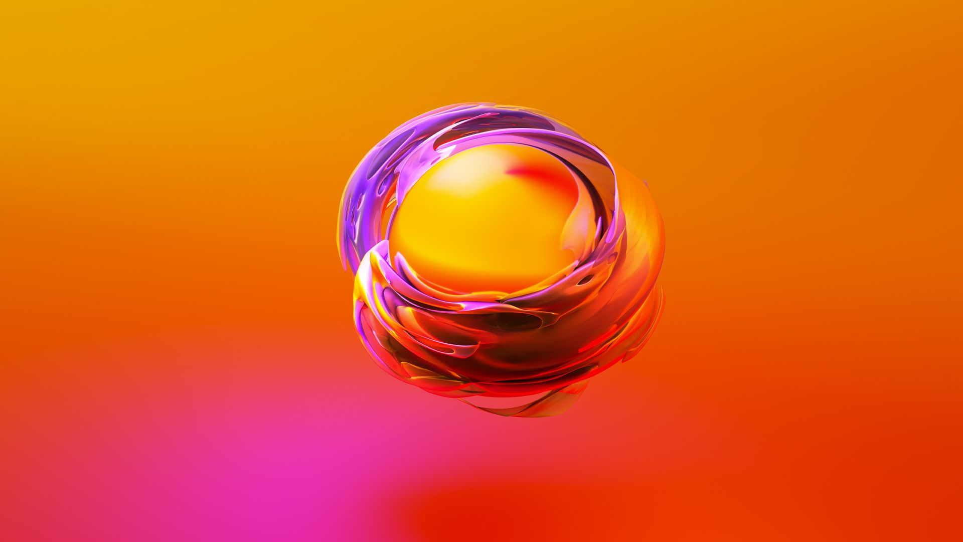 sphere, 3D, orange, yellow, HD (horizontal)