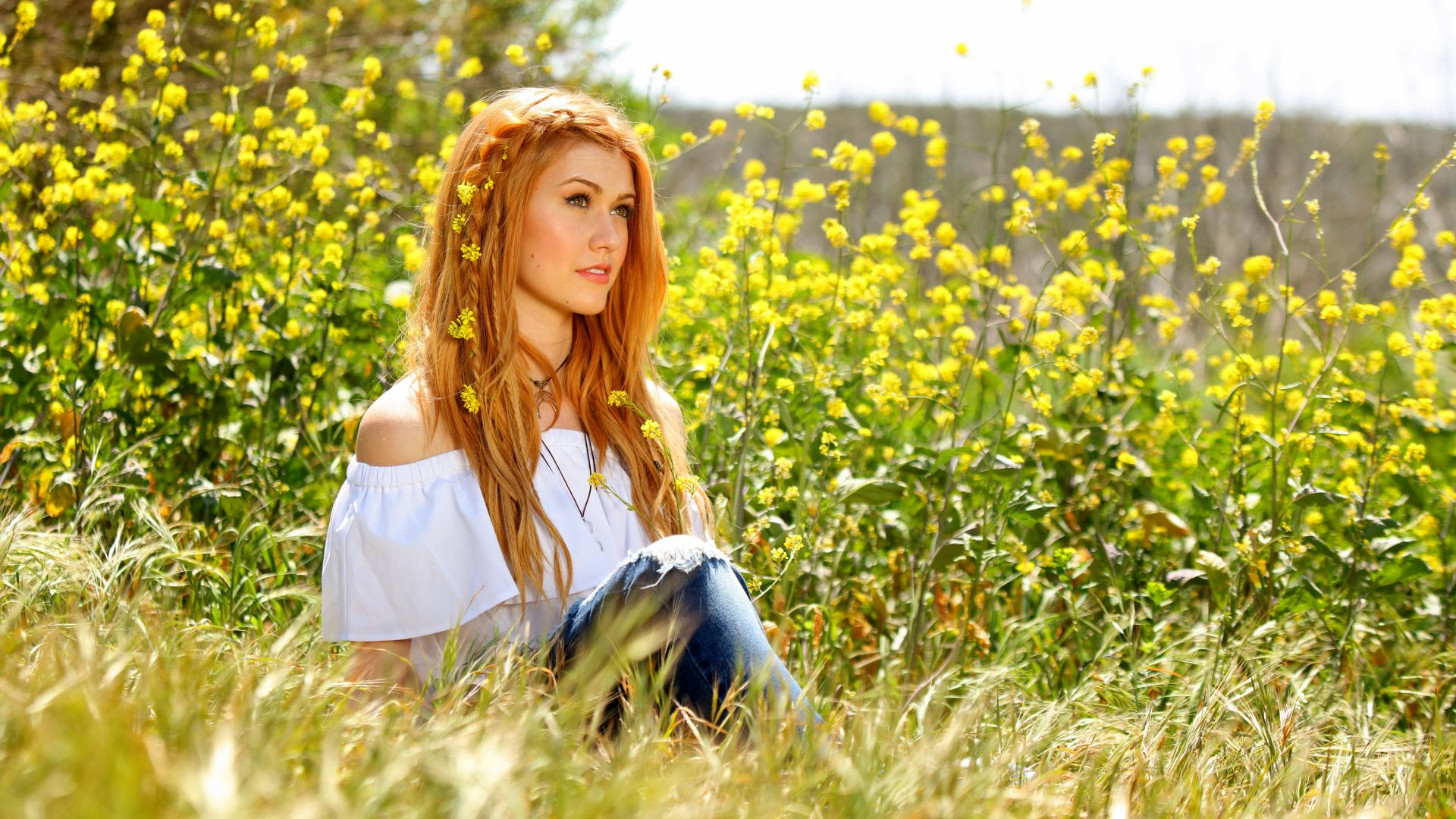 Katherine Mcnamara, photo, flowers, grass, 5k (horizontal)