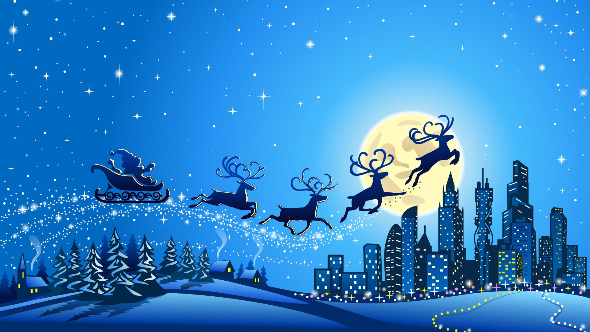 Christmas, New Year, Santa, deer, moon, night, winter, 5k (horizontal)
