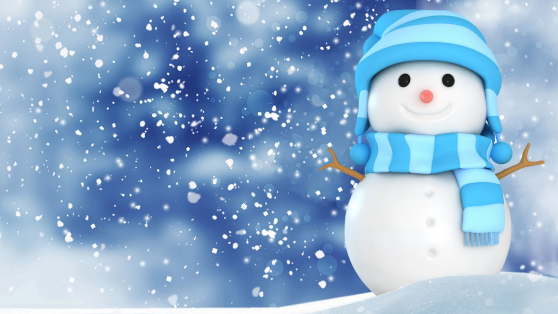 Christmas, New Year, snow, winter, snowman, 4k (horizontal)