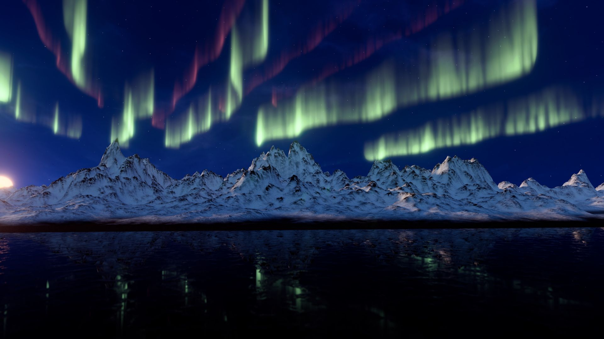 northern lights, mountains, 4k (horizontal)