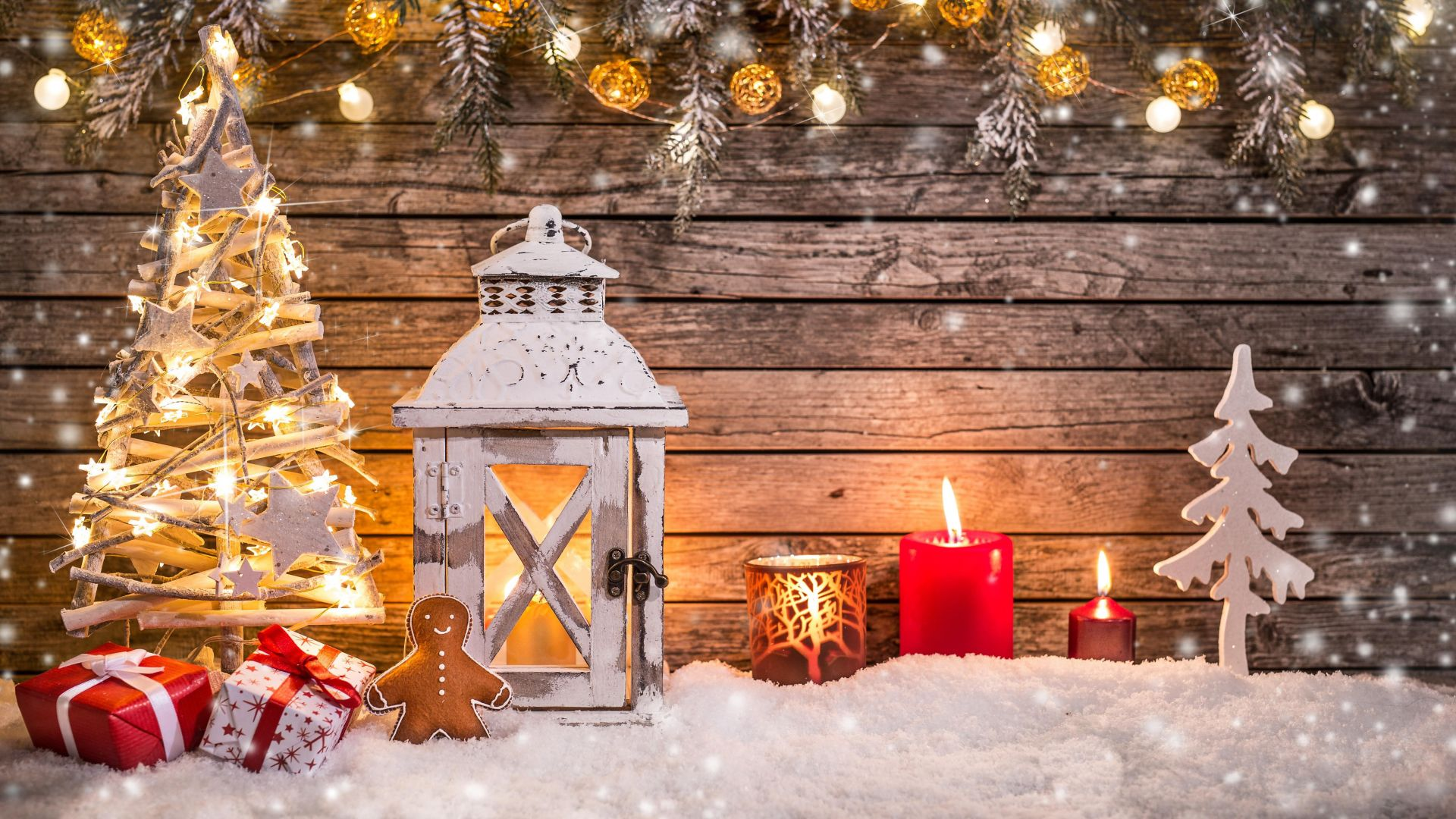 Christmas, New Year, toys, fir-tree, lamp, decorations, snow, 5k (horizontal)
