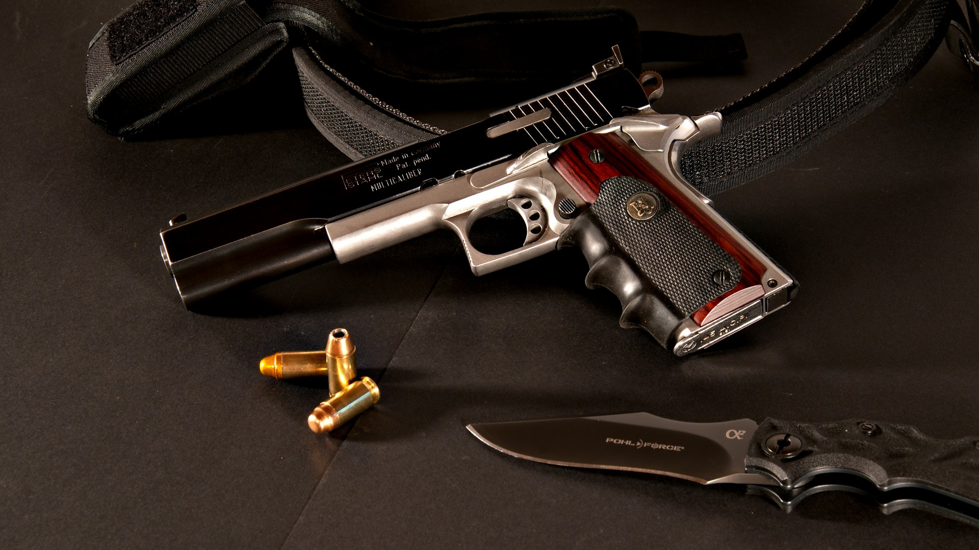 Peters Stahl, pistol, custom, .45, ACP, Colt M1911, Pohl Force, Alpha 2, knife (horizontal)