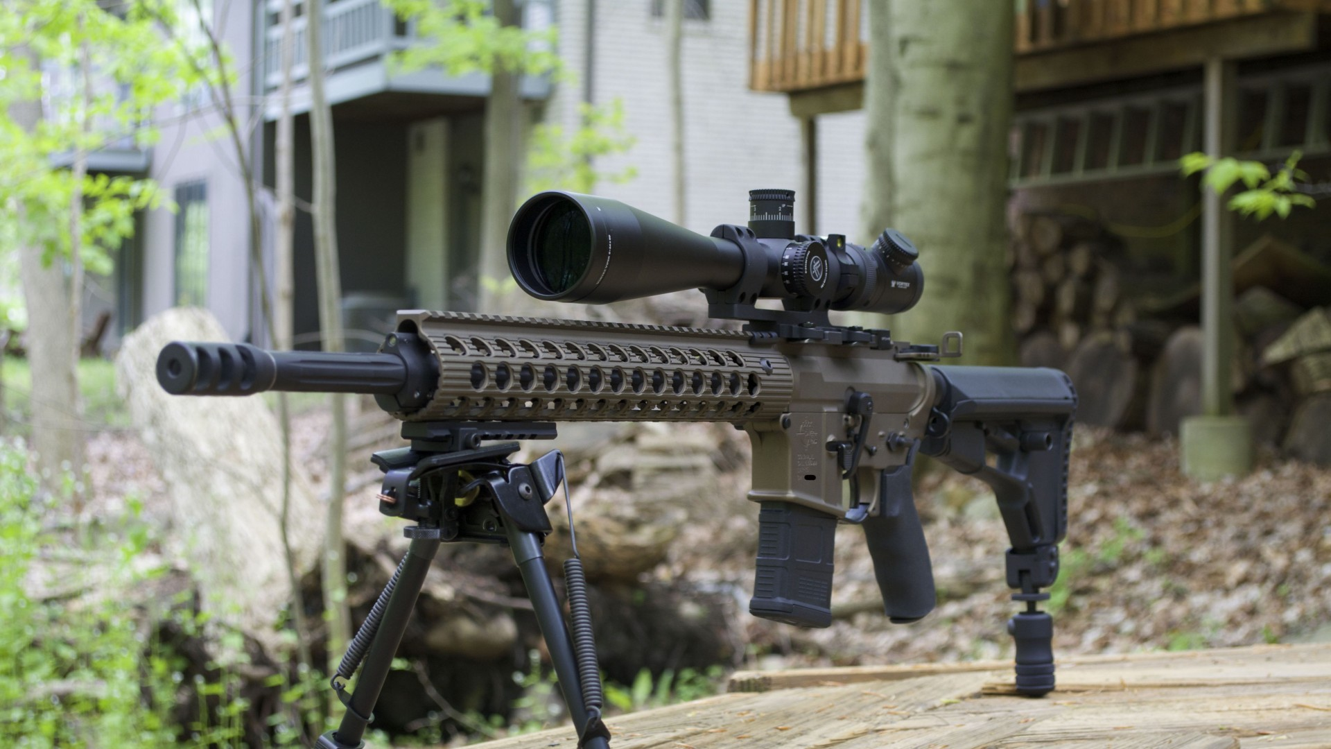 AR-15, rifle, custom, semi-automatic, multicam, camo, scope (horizontal)