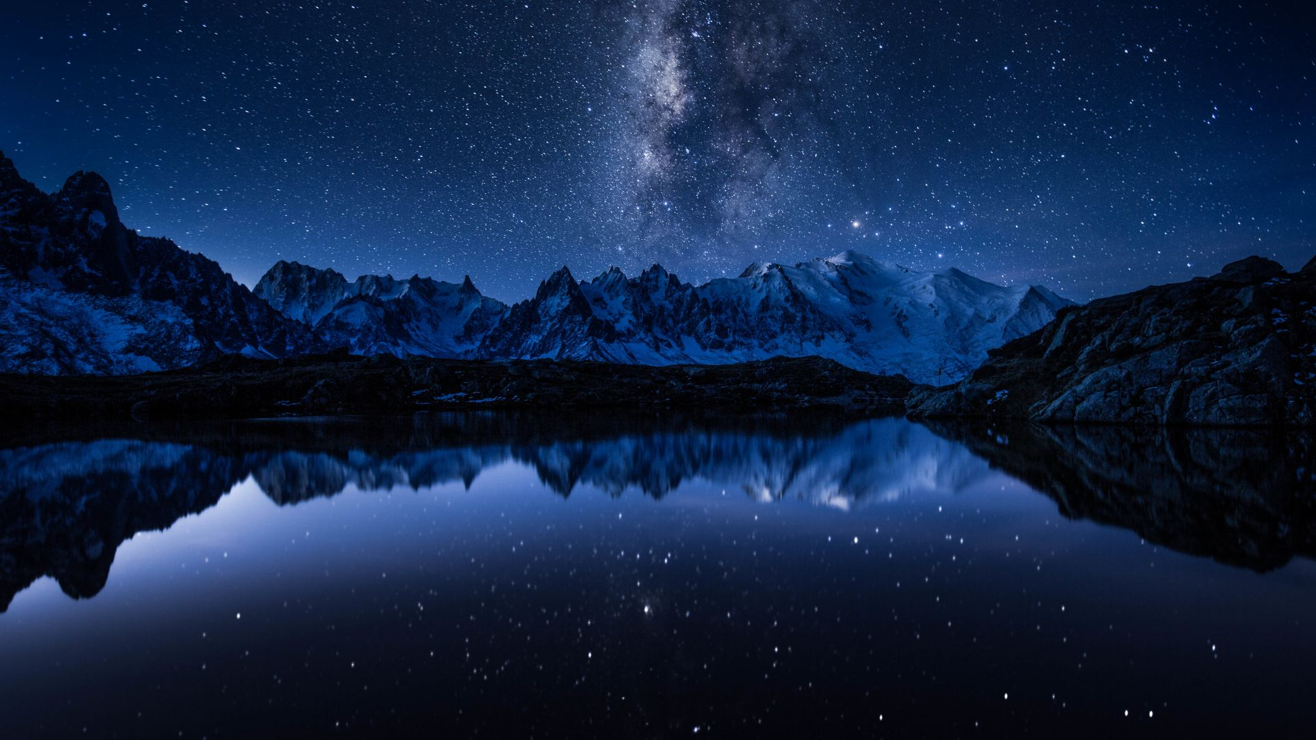 stars, mountains, lake, 5k (horizontal)