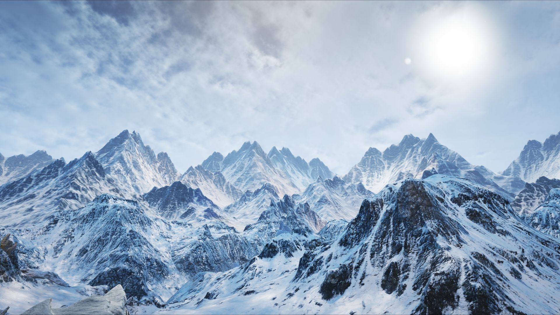 mountains, snow, winter, 4k (horizontal)
