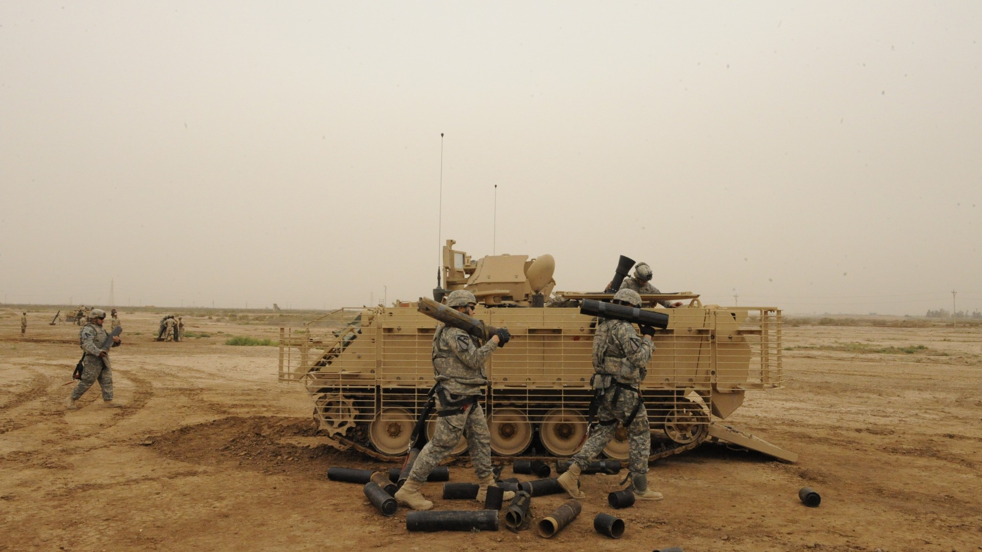 M113, Bradley, armored personnel carrier, soldier, APC, ACAV, M113A3, U.S. Army, firing (horizontal)