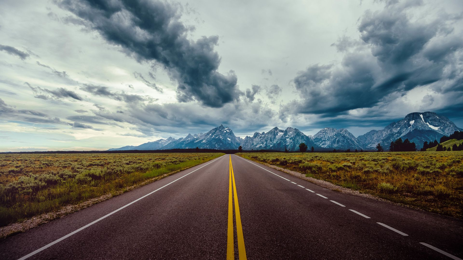 road, sky, clouds, mountains, 8k (horizontal)