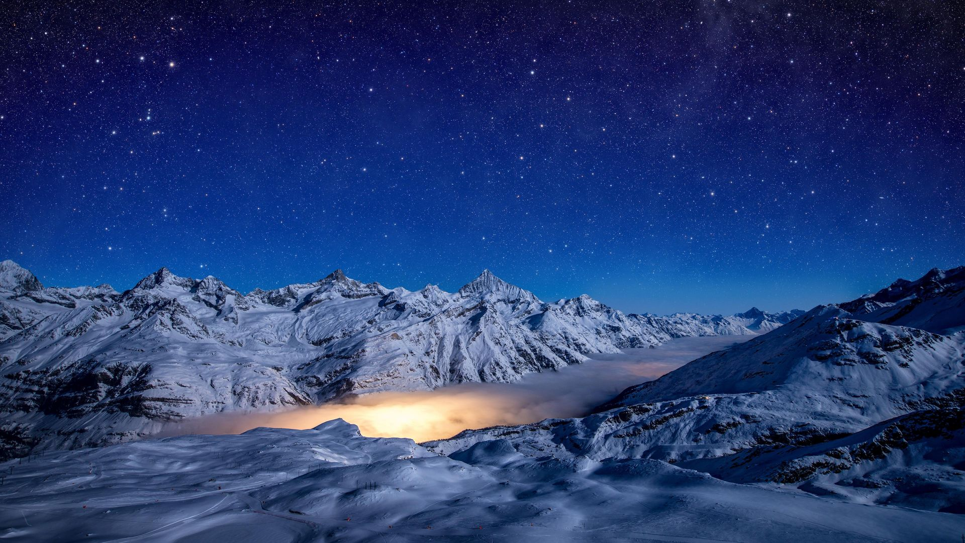 night, mountains, sky, stars, 4k (horizontal)