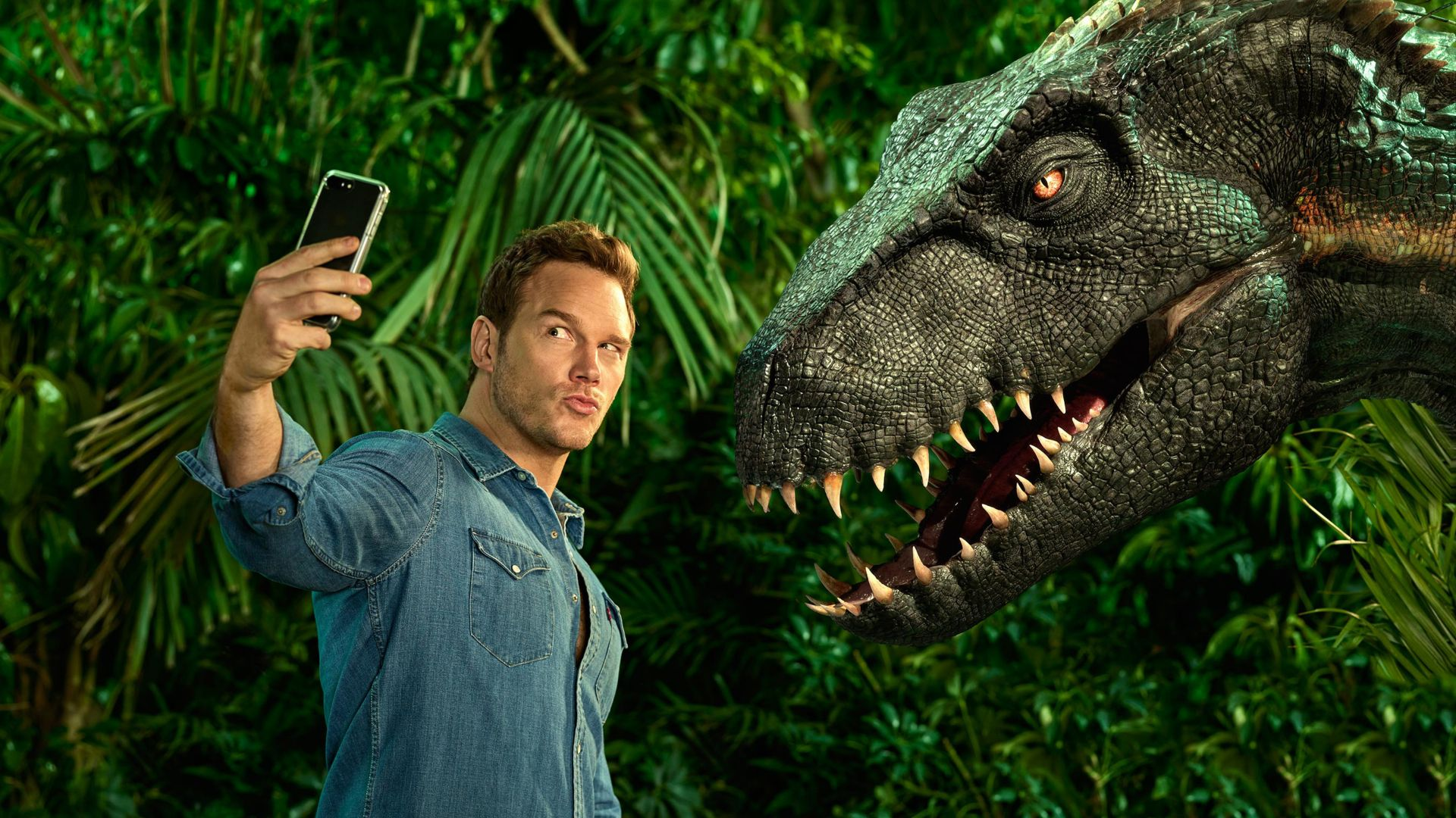 Jurassic World: Fallen Kingdom, Chris Pratt, dinosaur, 4k (horizontal)