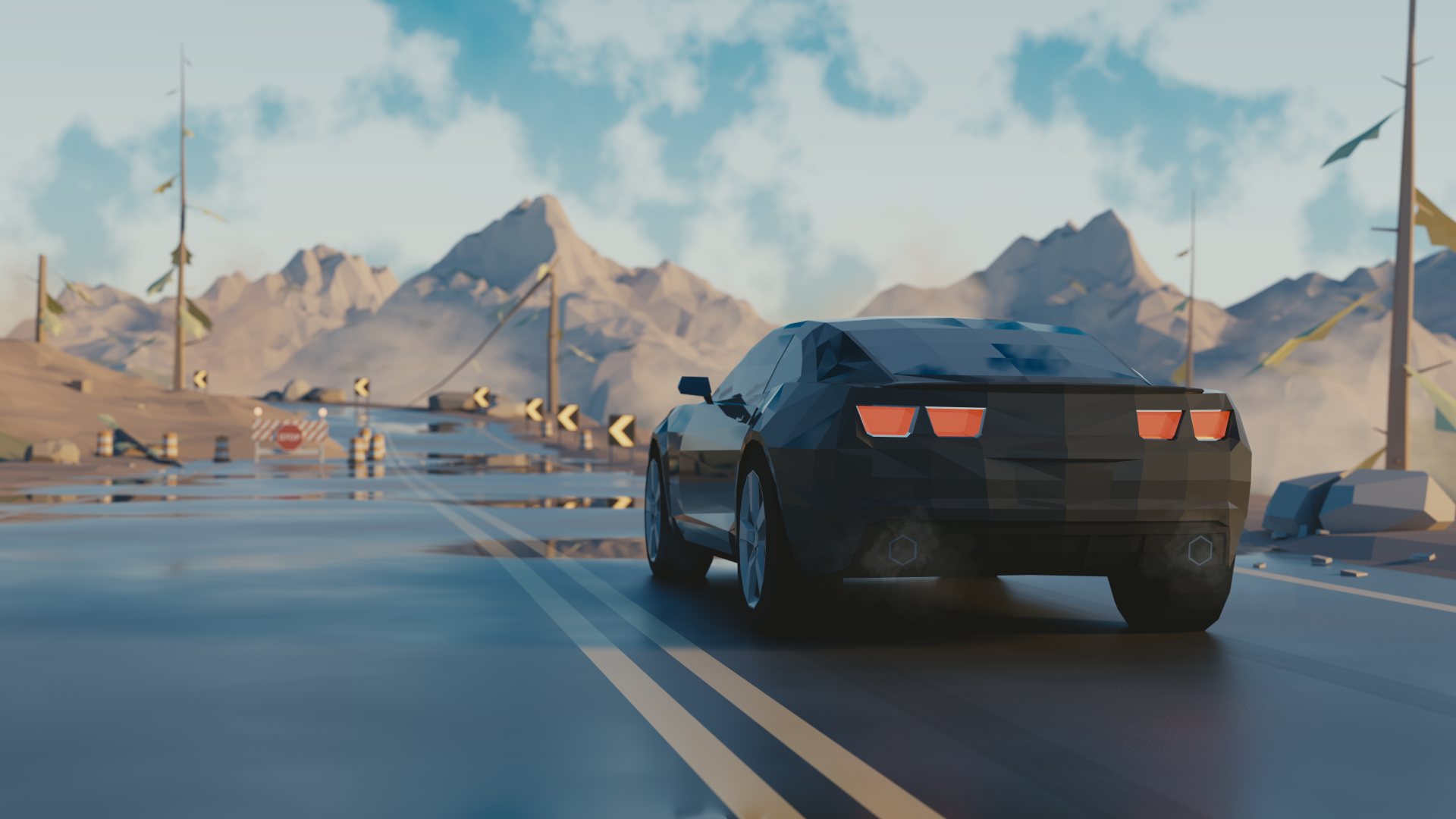 Low Poly, Chevrolet Camaro, 3D, 4K (horizontal)