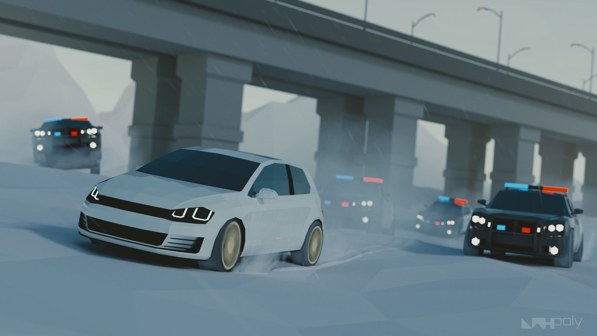 Low Poly, Police Chase, 3D, 4K (horizontal)