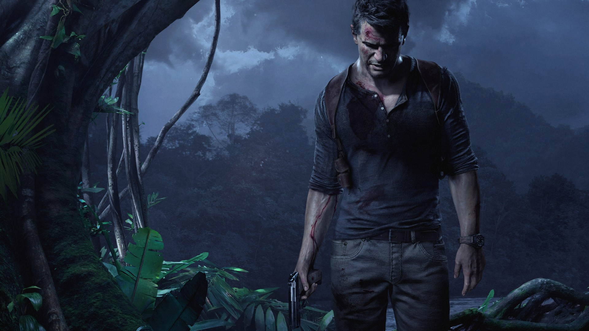 Uncharted 4: A Thief's End, game, jungle, night, gun, screenshot, 4k, 5k, PC, 2015 (horizontal)