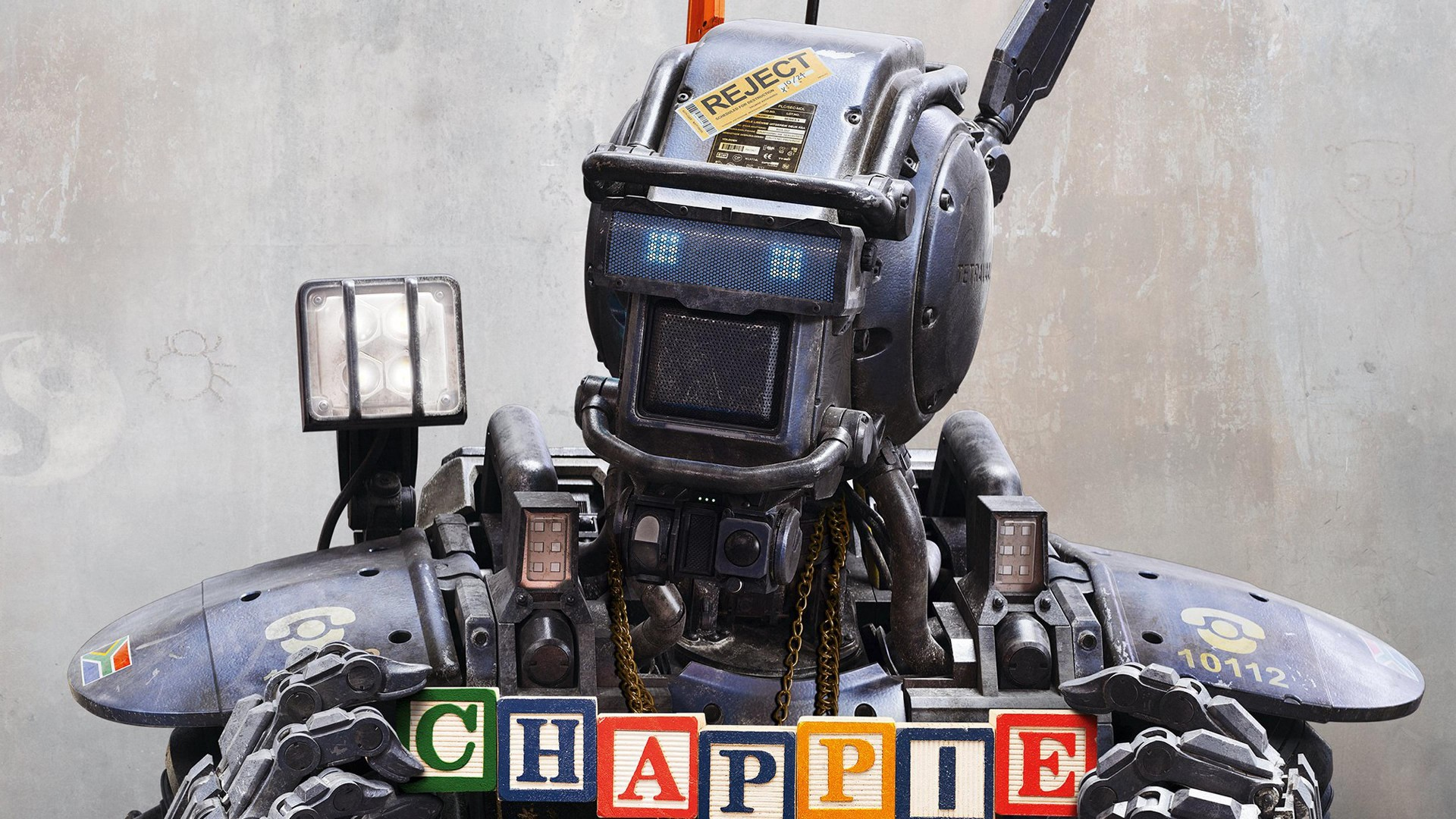 Chappie, Best Movies of 2015, robot, police, wallpaper, gun (horizontal)