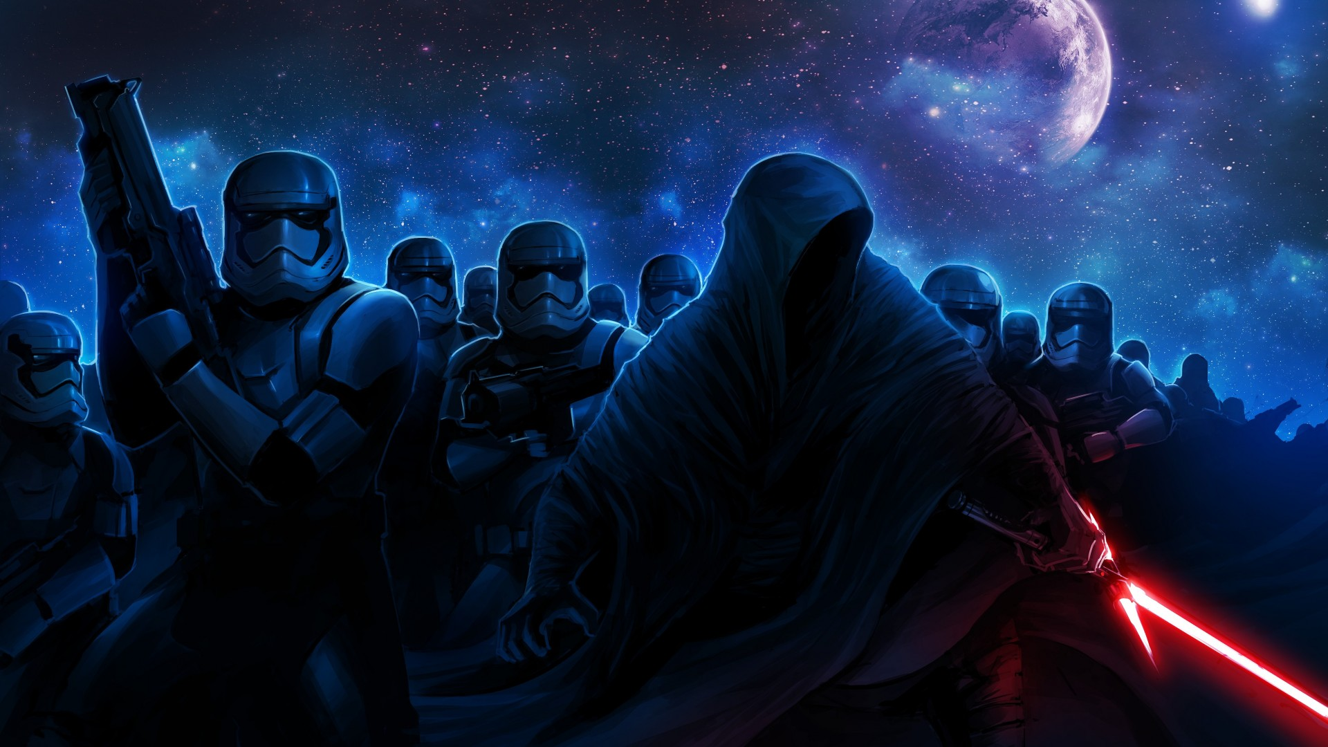 Star Wars: The Force Awakens, Star Wars 7, movie, film, imperial stormtroopers, episode, force, jedi, lightsaber, sith, stars, planet, sky, art (horizontal)