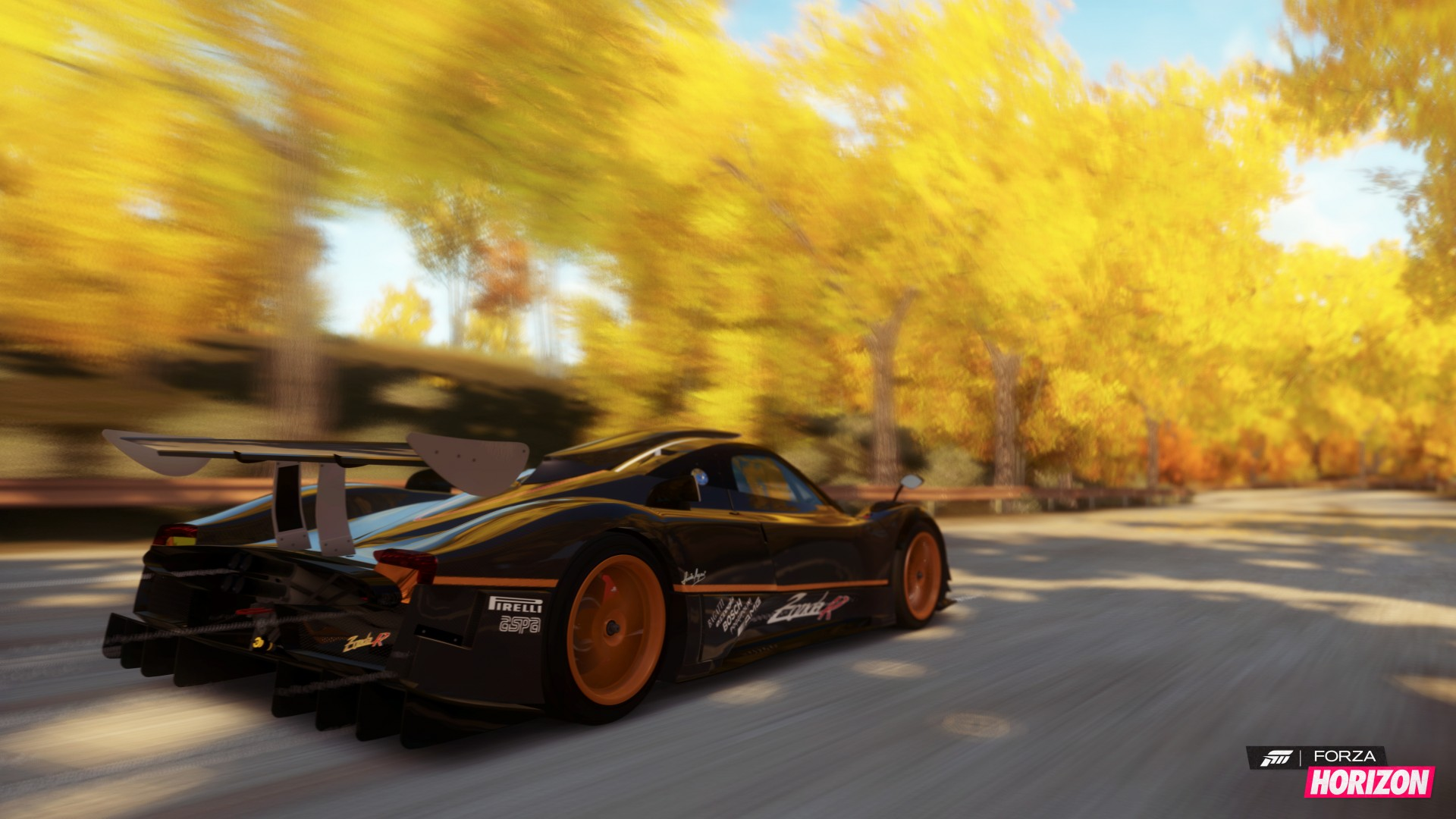 Forza Horizon, 5k, 4k wallpaper, game, car, dodge viper, black, orange, yellow, autumn, race, road, tree, speed, screenshot, 4k, 5k (horizontal)