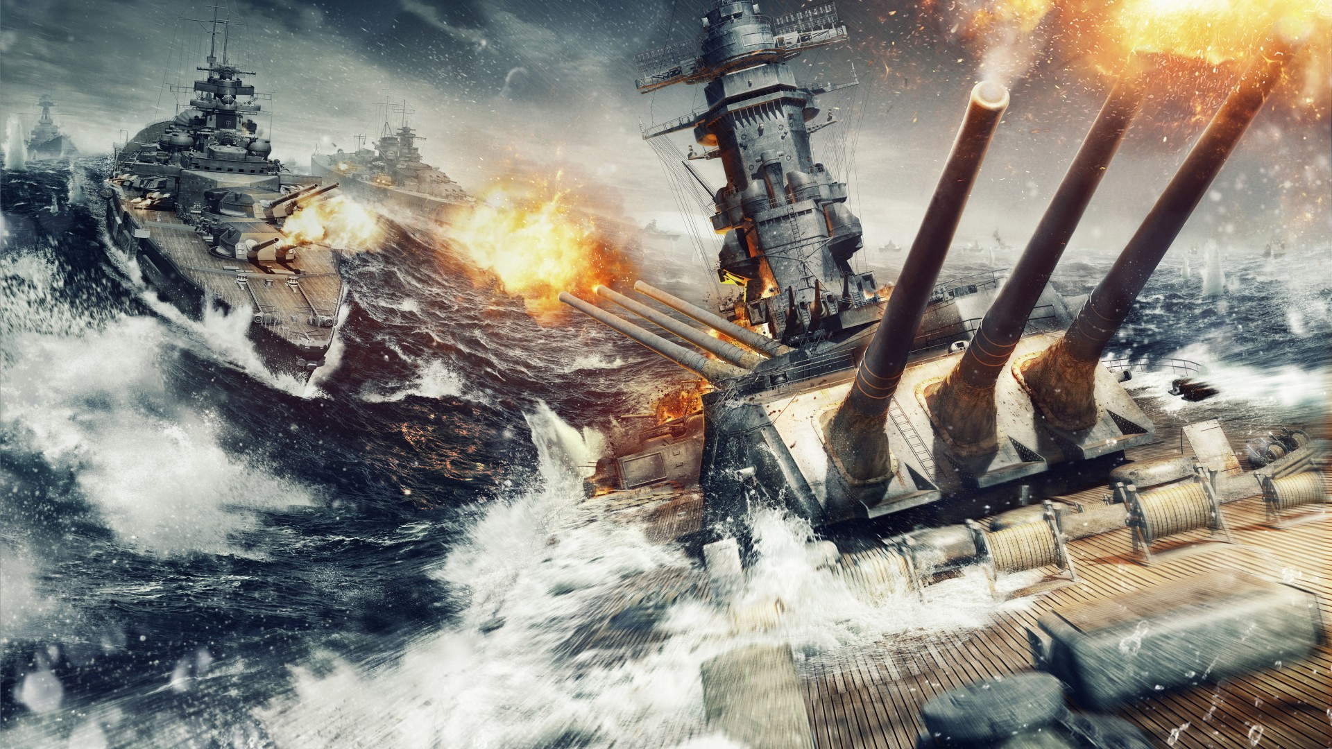 World of Warships, game, MMORPG, simulator, sea, water, battle, fire, ship, storm, screenshot, 4k, 5k, pc, 2015 (horizontal)