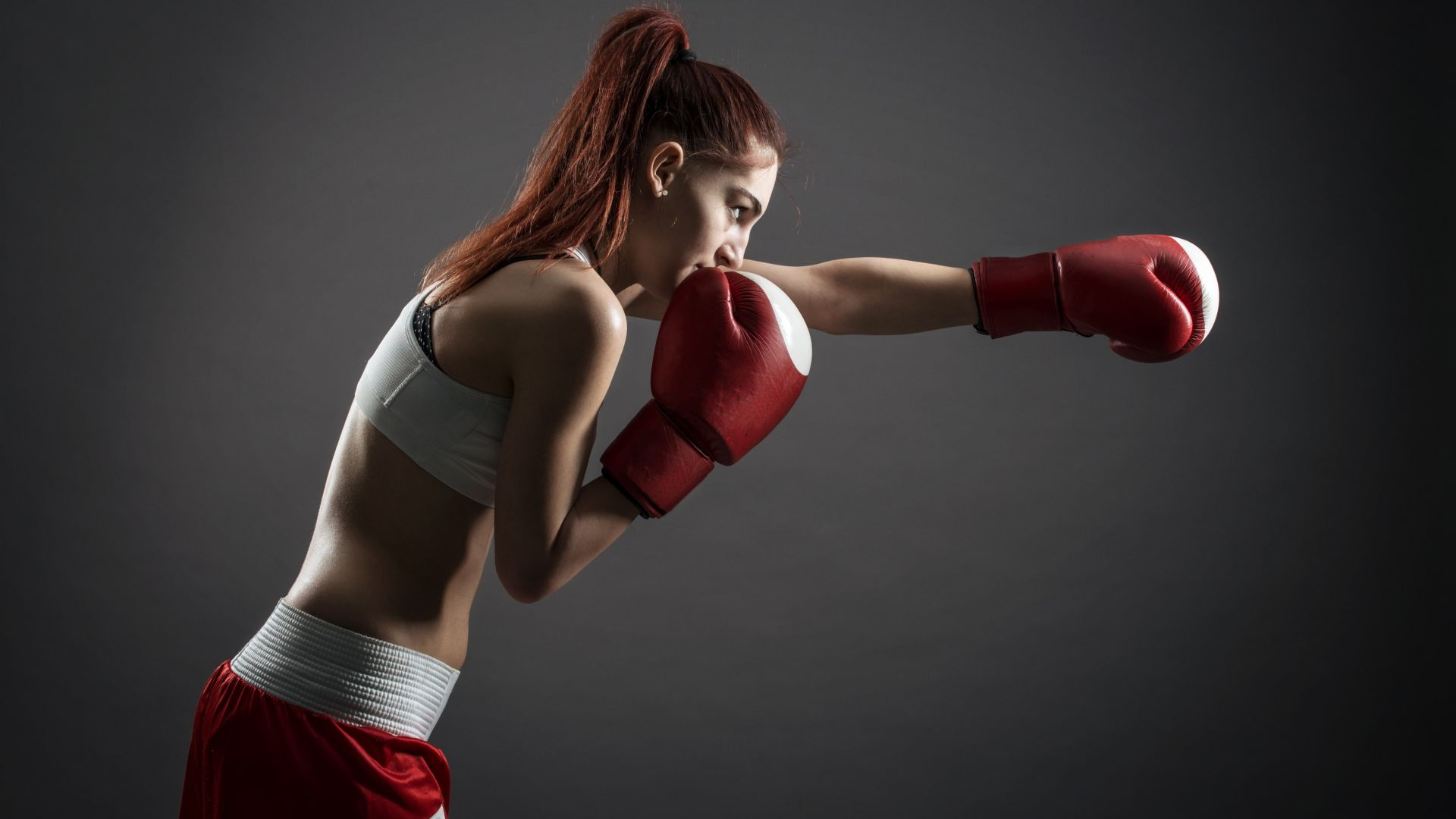 Boxing gloves, girl, boxing, 4K (horizontal)