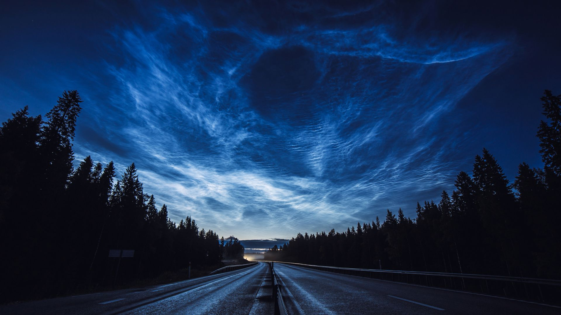 road, night, forest, sky, 4K (horizontal)