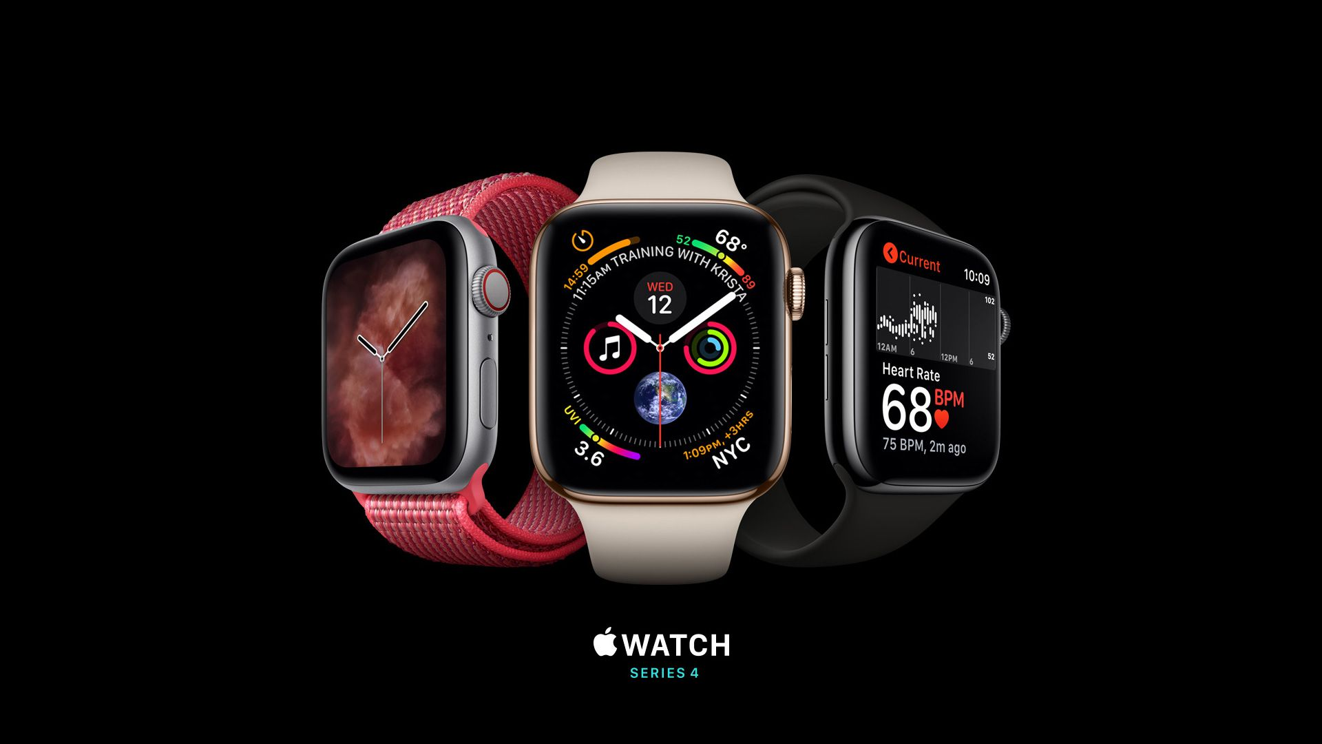 Apple Watch Series 4, silver, gold, black, Apple September 2018 Event (horizontal)