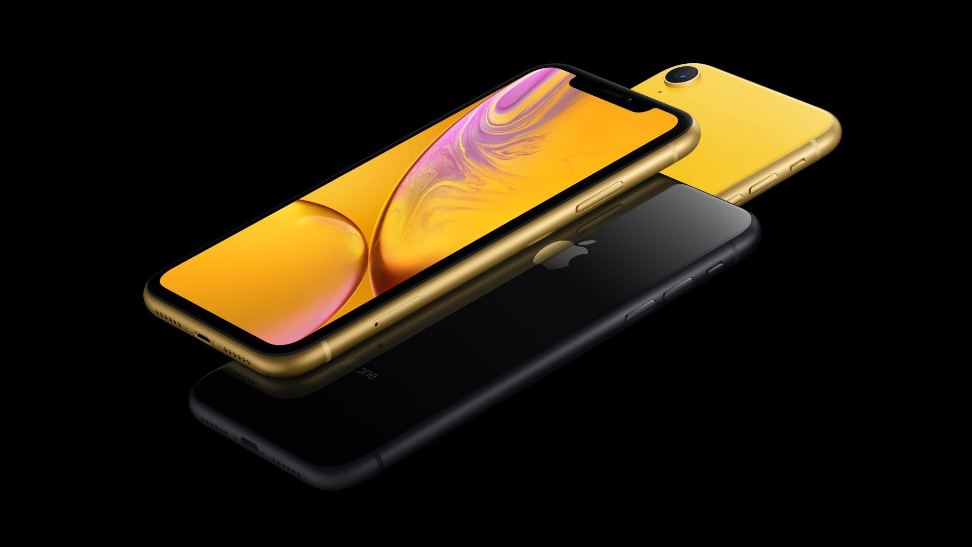 iPhone XR, gold, black, yellow, 5K, smartphone, Apple September 2018 Event (horizontal)