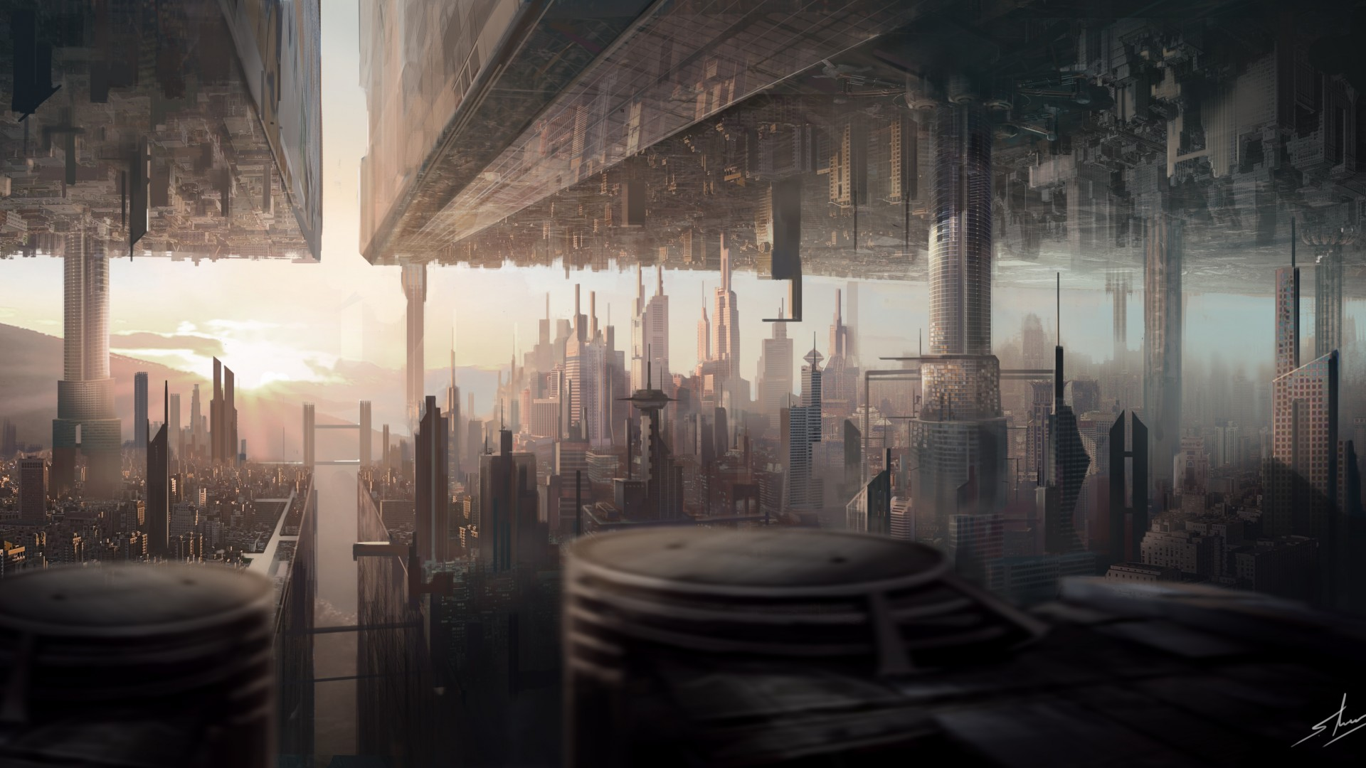 matte painting, art, city, urban, futuristic, sci-fi, sunset (horizontal)
